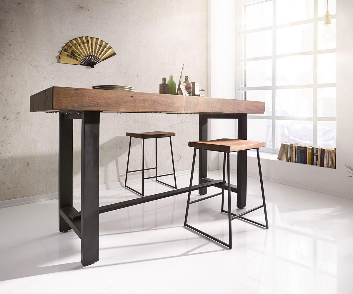 barstuhl blokk 40x61 cm akazie braun metall fu ablage. Black Bedroom Furniture Sets. Home Design Ideas