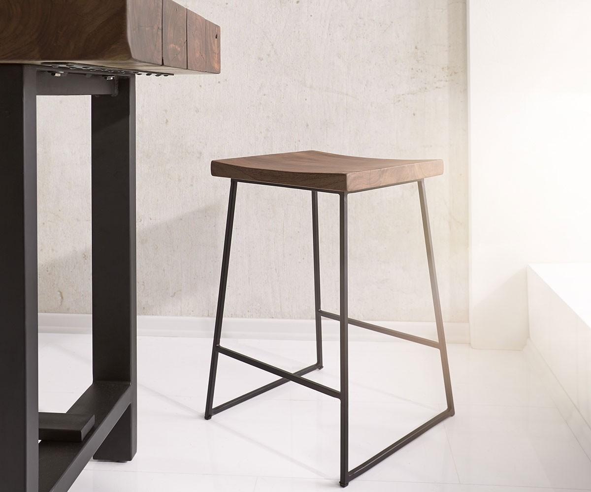 barstuhl blokk 40x61 cm akazie braun metall fu ablage m bel st hle barst hle. Black Bedroom Furniture Sets. Home Design Ideas