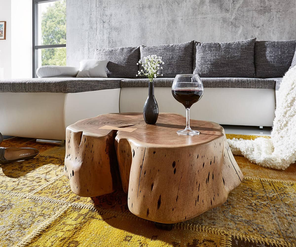 couchtisch live edge akazie natur mit rollen baumstamm. Black Bedroom Furniture Sets. Home Design Ideas