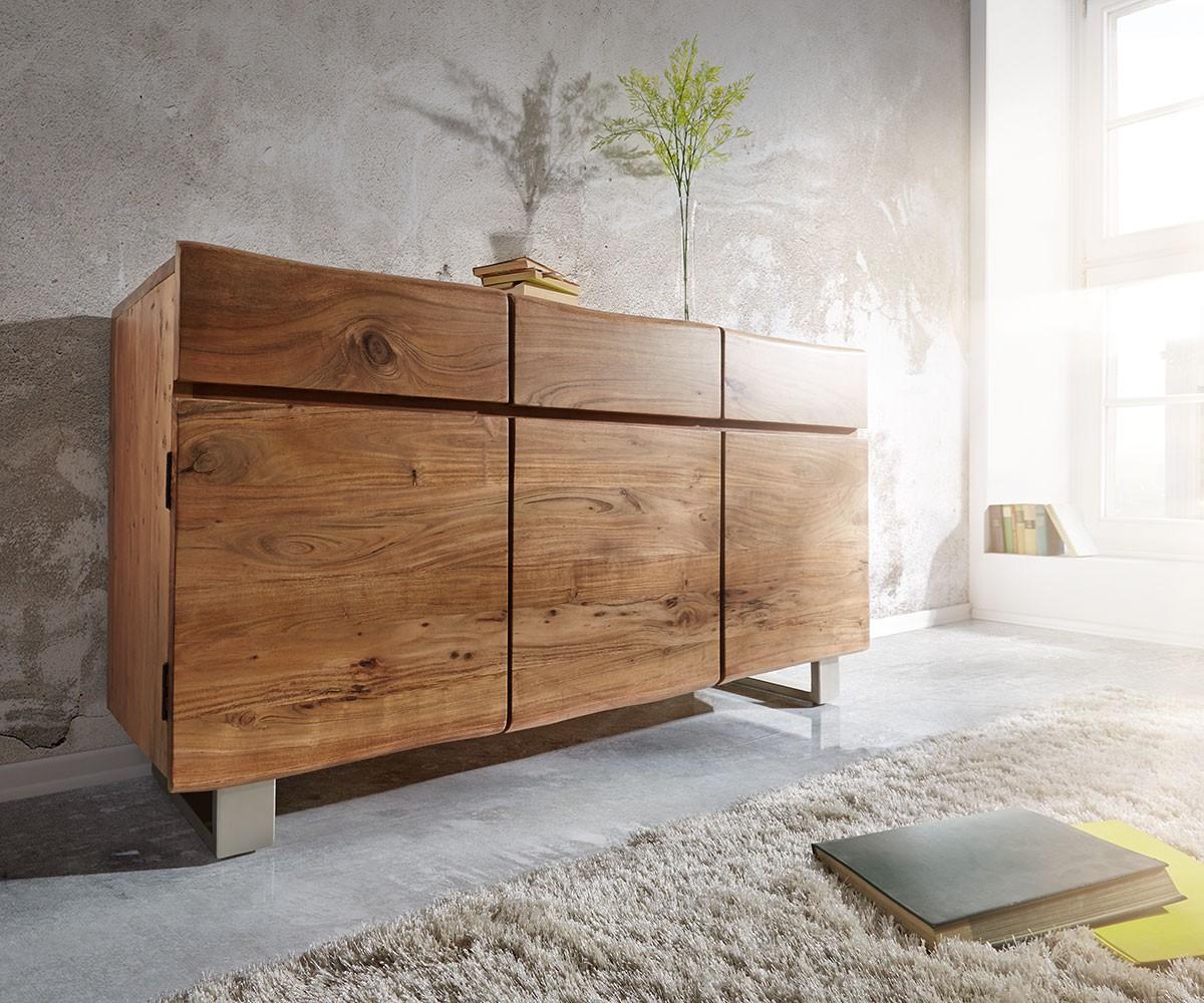 sideboard live edge 147x90 akazie natur 3 t ren 3 sch be. Black Bedroom Furniture Sets. Home Design Ideas
