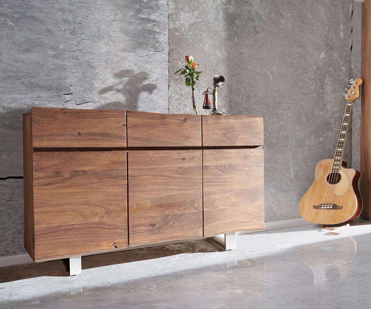 sideboard live edge 147x90 akazie braun 3 t ren 3 sch be. Black Bedroom Furniture Sets. Home Design Ideas