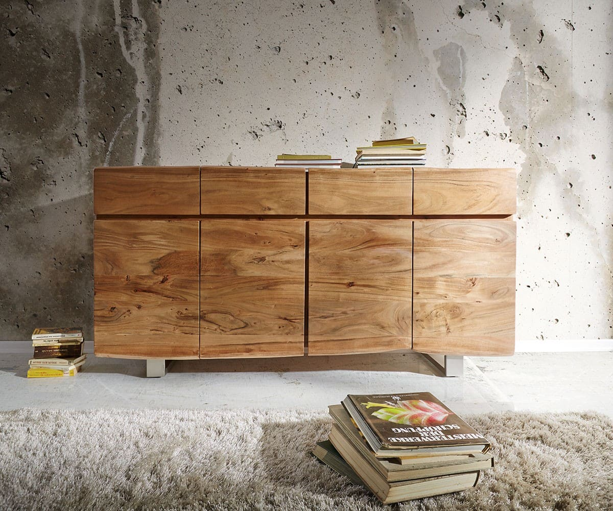 sideboard live edge 172x91 akazie natur 4 t ren 4 sch be m bel kommoden schr nke sideboards. Black Bedroom Furniture Sets. Home Design Ideas