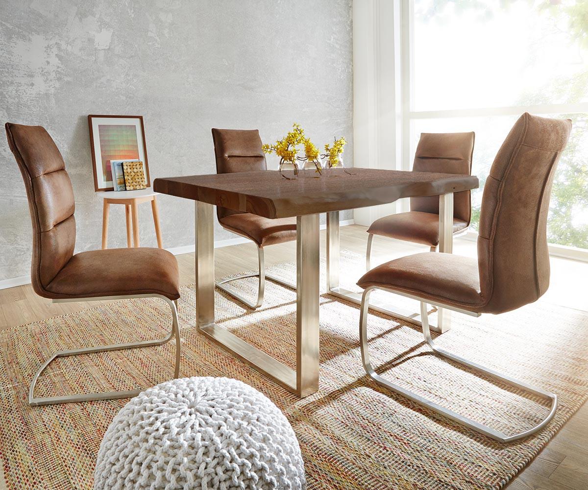 baumtisch live edge 200x100 akazie braun platte 5 5cm gestell schmal m bel tische esstische. Black Bedroom Furniture Sets. Home Design Ideas