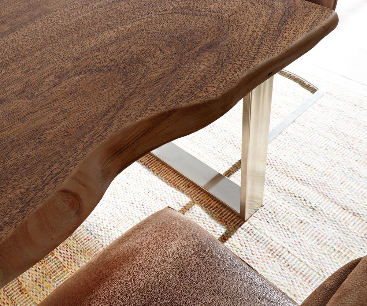 baumtisch live edge 140x90 akazie braun platte 3 5cm. Black Bedroom Furniture Sets. Home Design Ideas