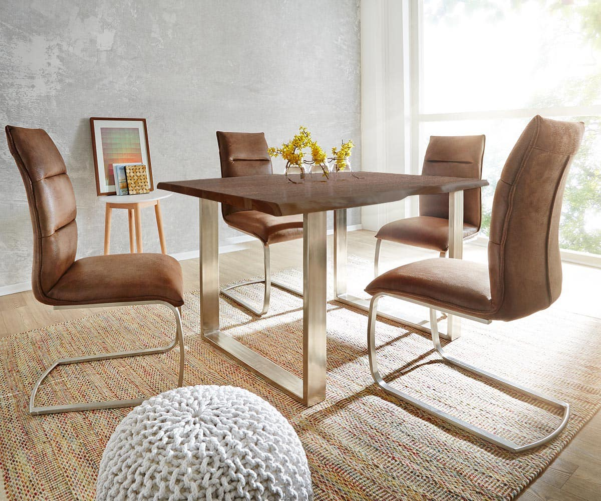 baumtisch live edge 200x100 akazie braun platte 3 5cm. Black Bedroom Furniture Sets. Home Design Ideas