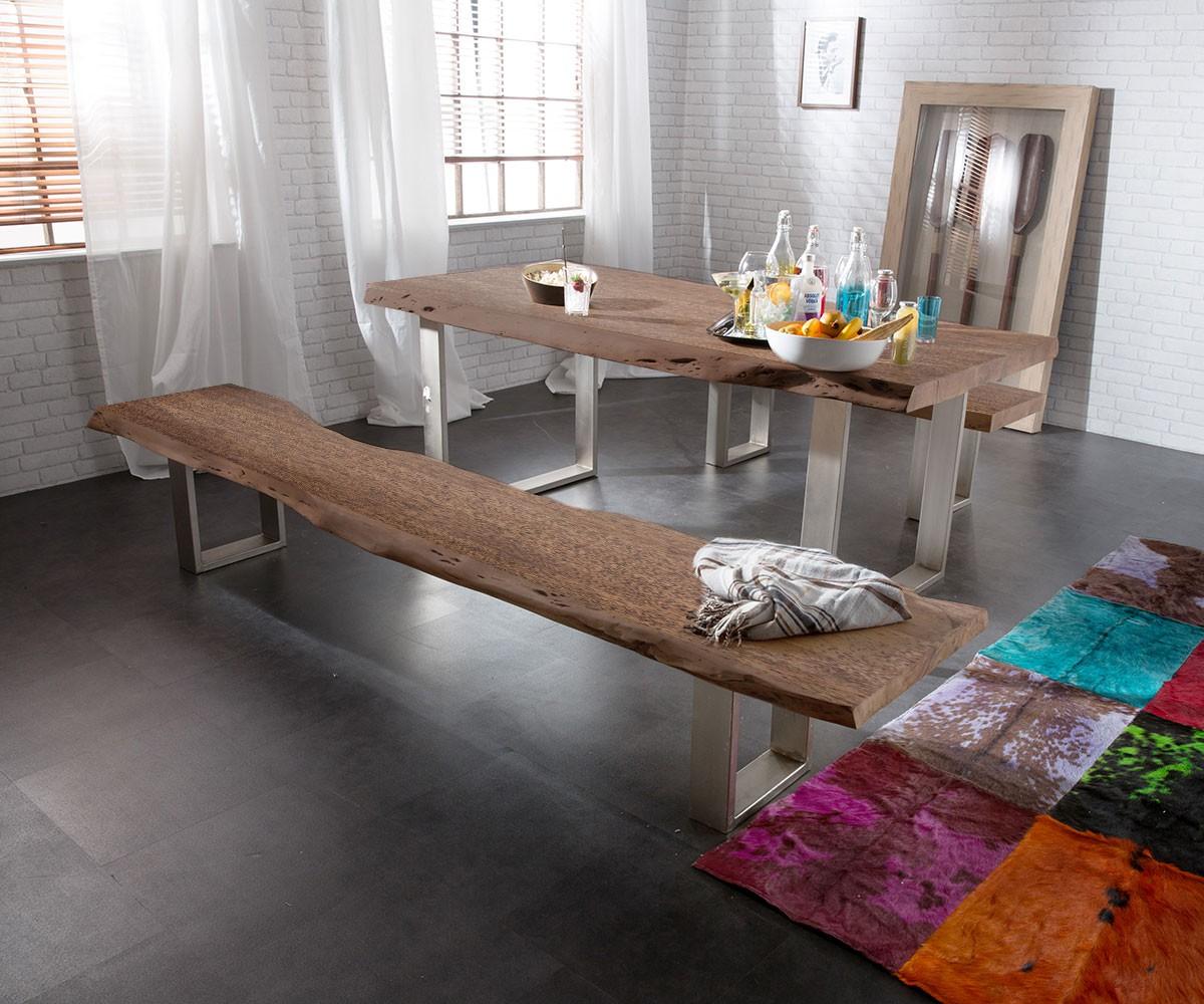 sitzbank live edge 195x40 akazie braun gestell schmal m bel st hle b nke. Black Bedroom Furniture Sets. Home Design Ideas