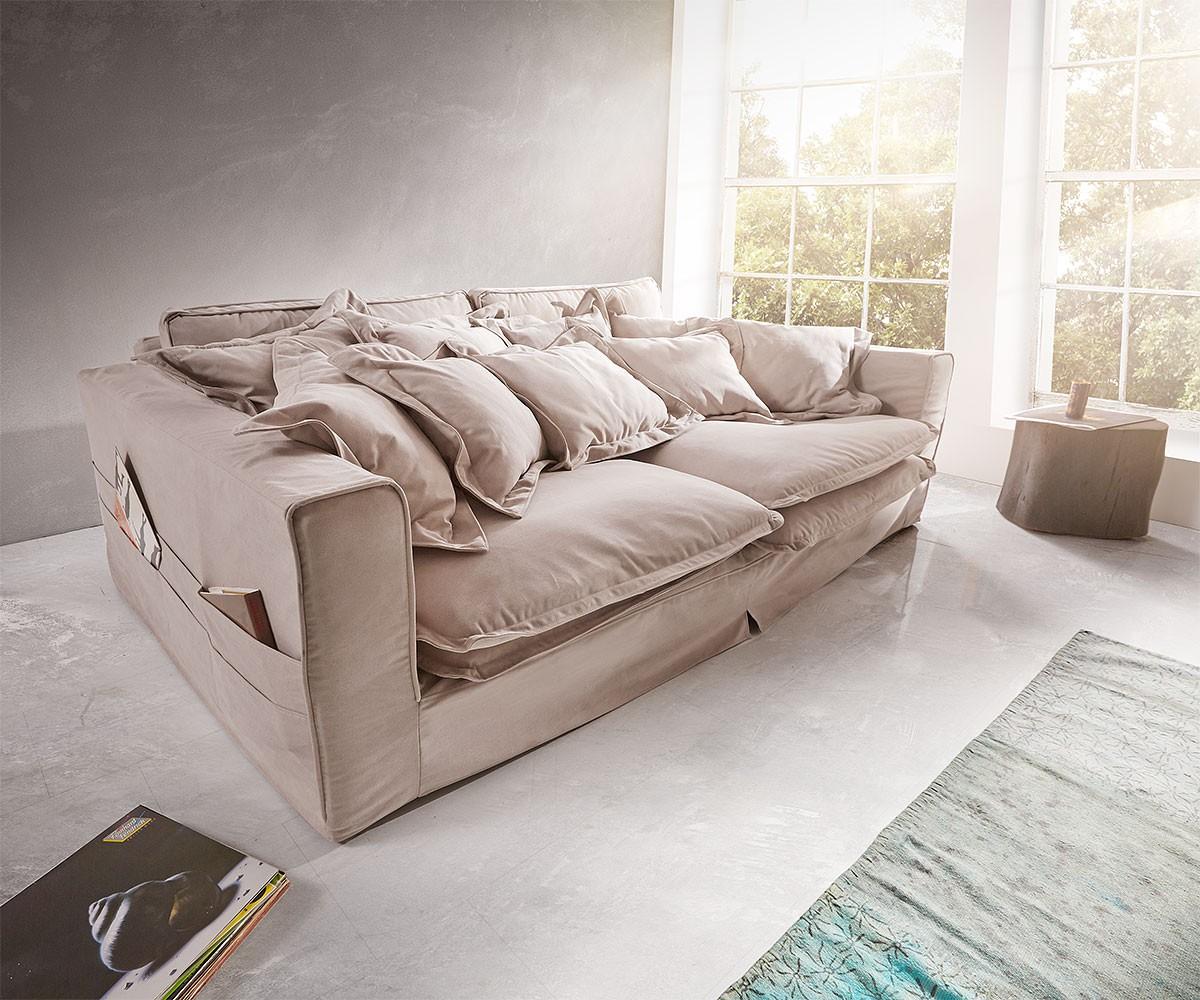 hussensofa noelia 240x145 cm hellgrau mit kissen m bel. Black Bedroom Furniture Sets. Home Design Ideas