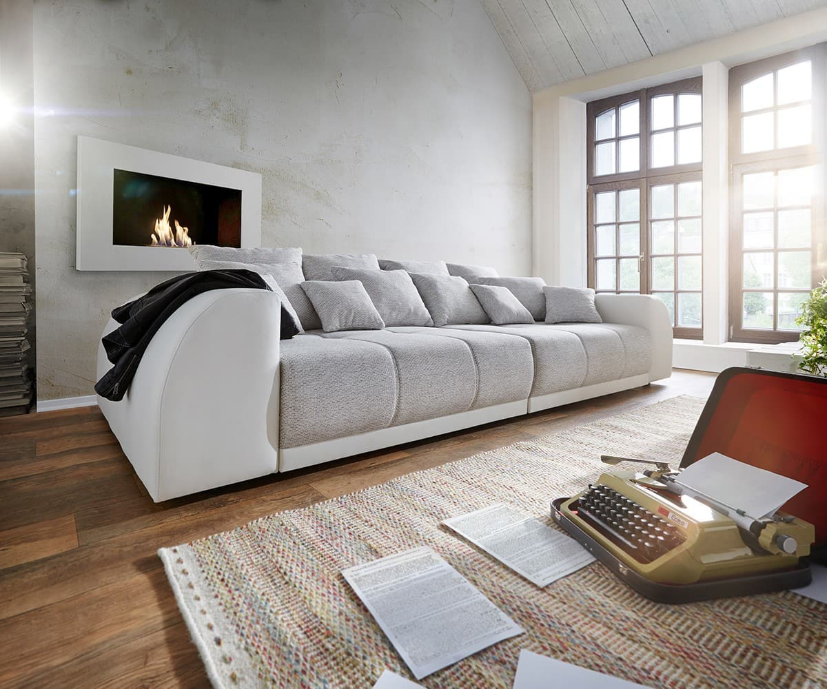 big sofa violetta 310x135 creme hellgrau mit 12 kissen m bel sofas big sofas. Black Bedroom Furniture Sets. Home Design Ideas