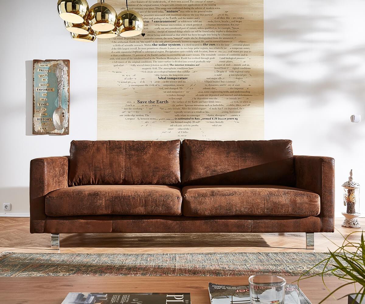 3 sitzer baracca 220x95 braun antik optik bauhausstil sofa. Black Bedroom Furniture Sets. Home Design Ideas