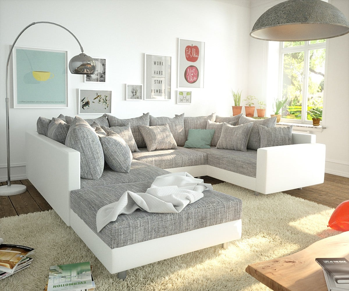 Wohnlandschaft Clovis Weiss Hellgrau modular Hocker Armlehne, Design Wohnlandschaften, Couch Loft, Modulsofa, modular