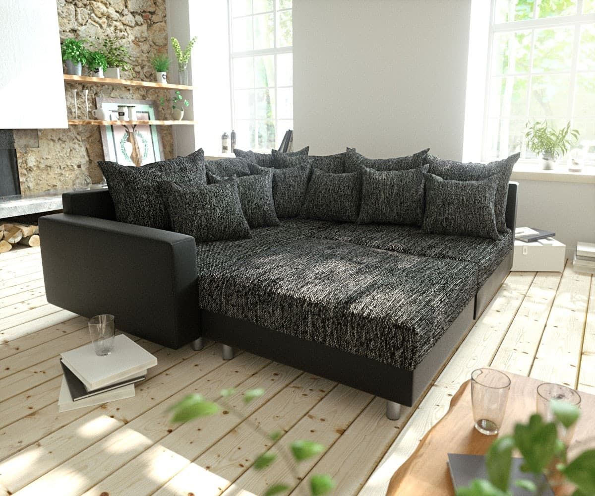 ecksofa clovis schwarz modular hocker armlehne ottomane links m bel sofas ecksofas. Black Bedroom Furniture Sets. Home Design Ideas