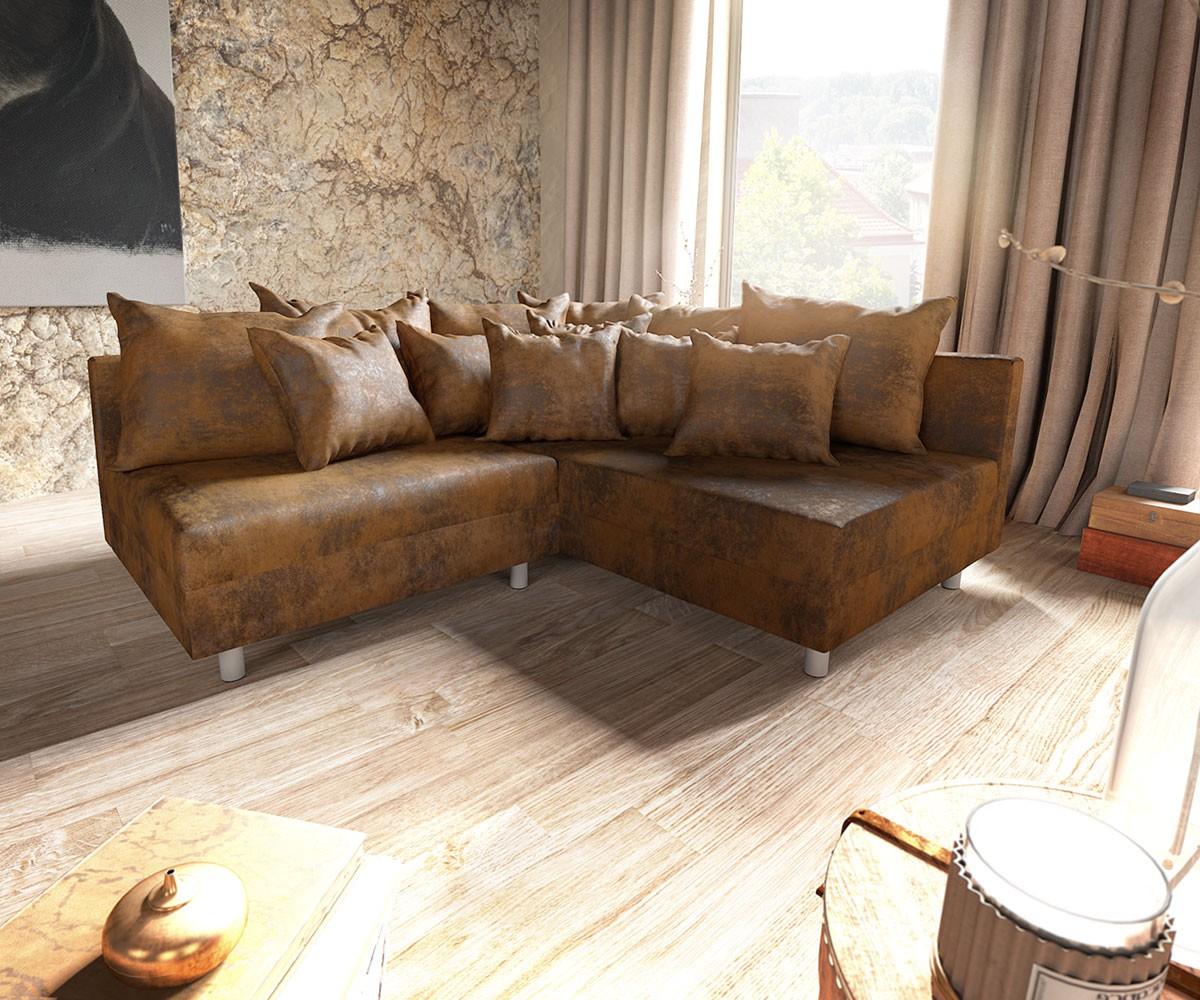 ecksofa clovis braun antik optik ottomane rechts modulsofa m bel sofas ecksofas. Black Bedroom Furniture Sets. Home Design Ideas