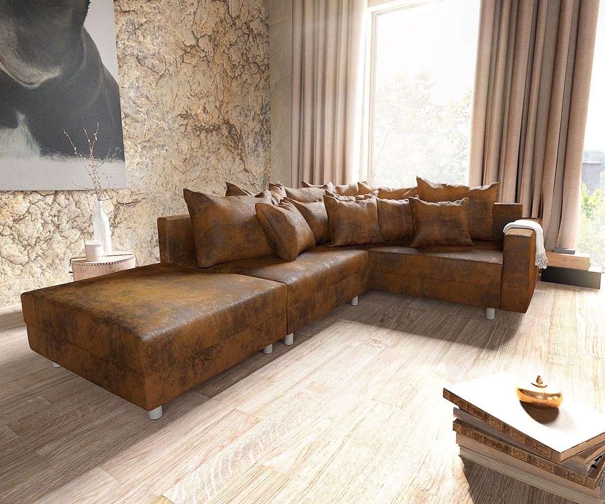 Couch noelia braun 240x98 cm legere polsterung antik optik for Wohnlandschaft module