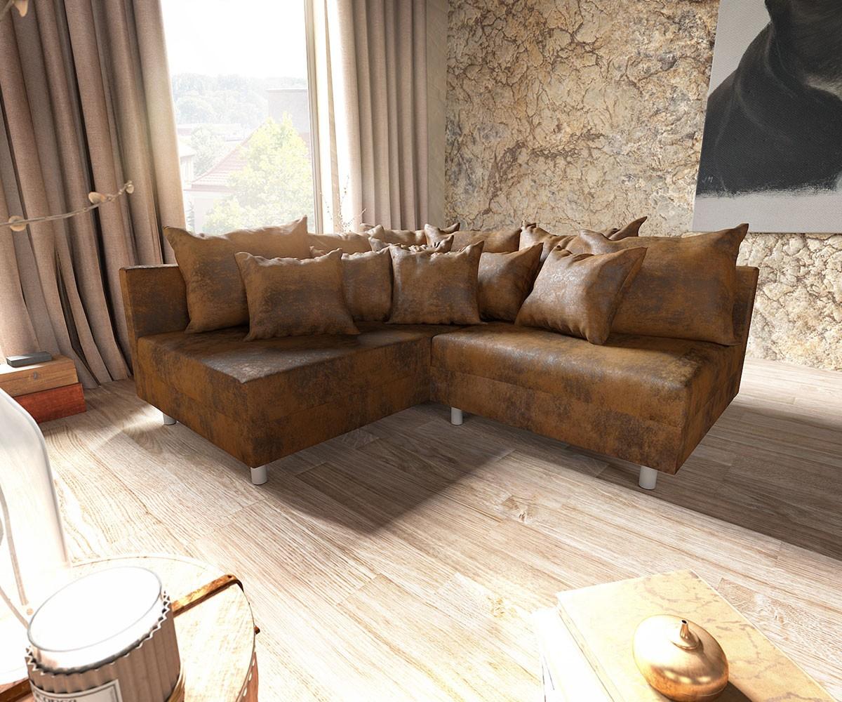ecksofa clovis braun antik optik ottomane links modulsofa m bel sofas ecksofas. Black Bedroom Furniture Sets. Home Design Ideas