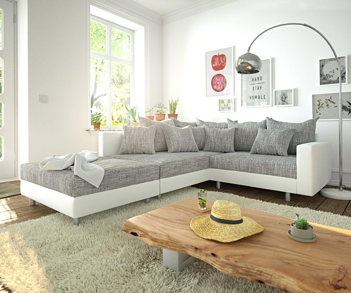 Ecksofa Clovis Weiss Hellgrau Hocker Armlehne Ottomane Links Modulsofa, Design Ecksofas, Couch Loft, Modulsofa, modular