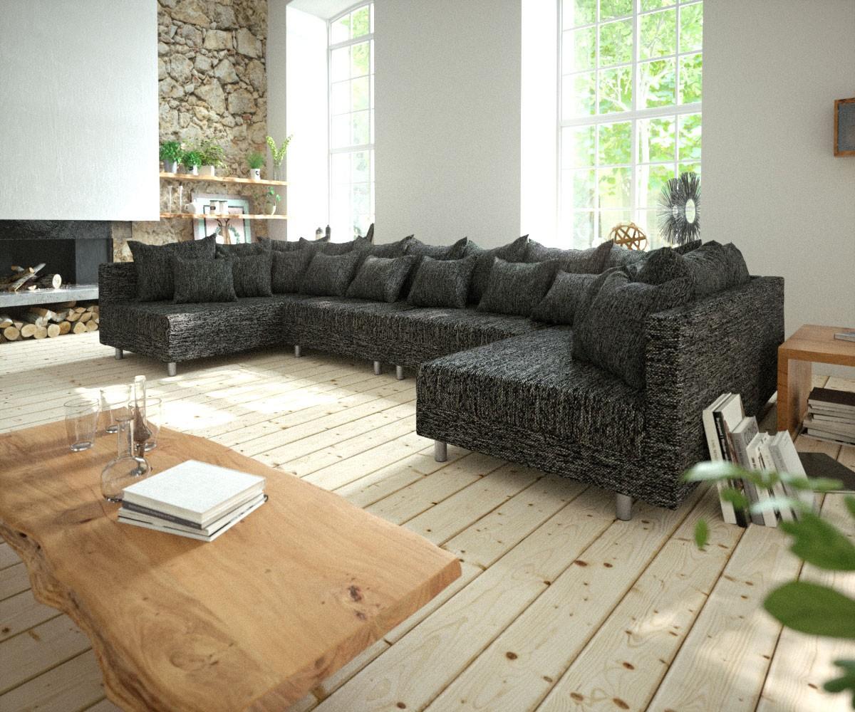 Wohnlandschaft Clovis XL Schwarz Modulsofa Strukturstoff, Design Wohnlandschaften, Couch Loft, Modulsofa, modular