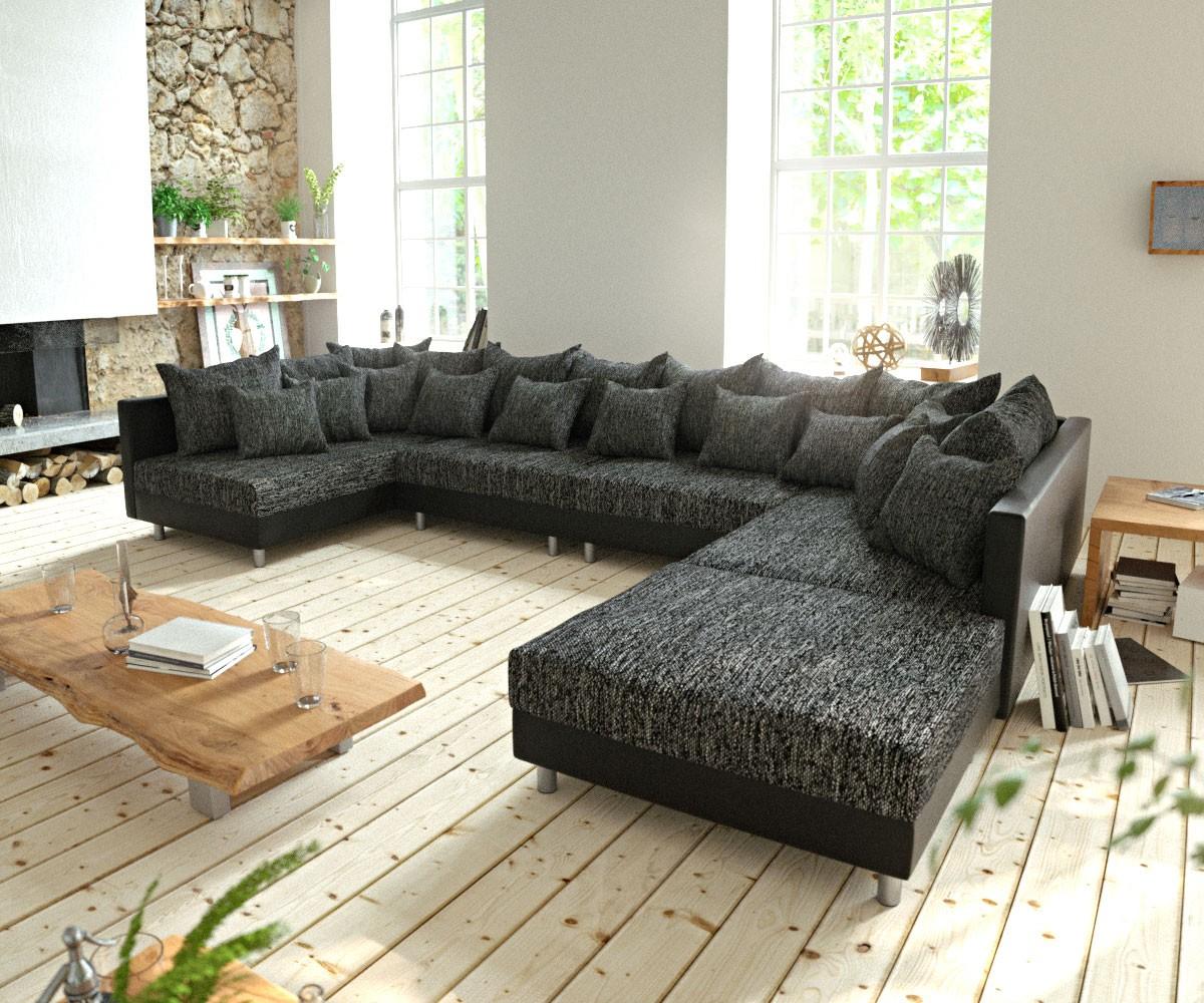 Wohnlandschaft Clovis XL Schwarz Modulsofa mit Hocker, Design Wohnlandschaften, Couch Loft, Modulsofa, modular