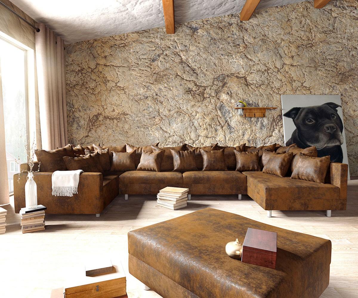Wohnlandschaft Clovis XL modular Braun Antik Optik Hocker Armlehne, Design Wohnlandschaften, Couch Loft, Modulsofa, modular