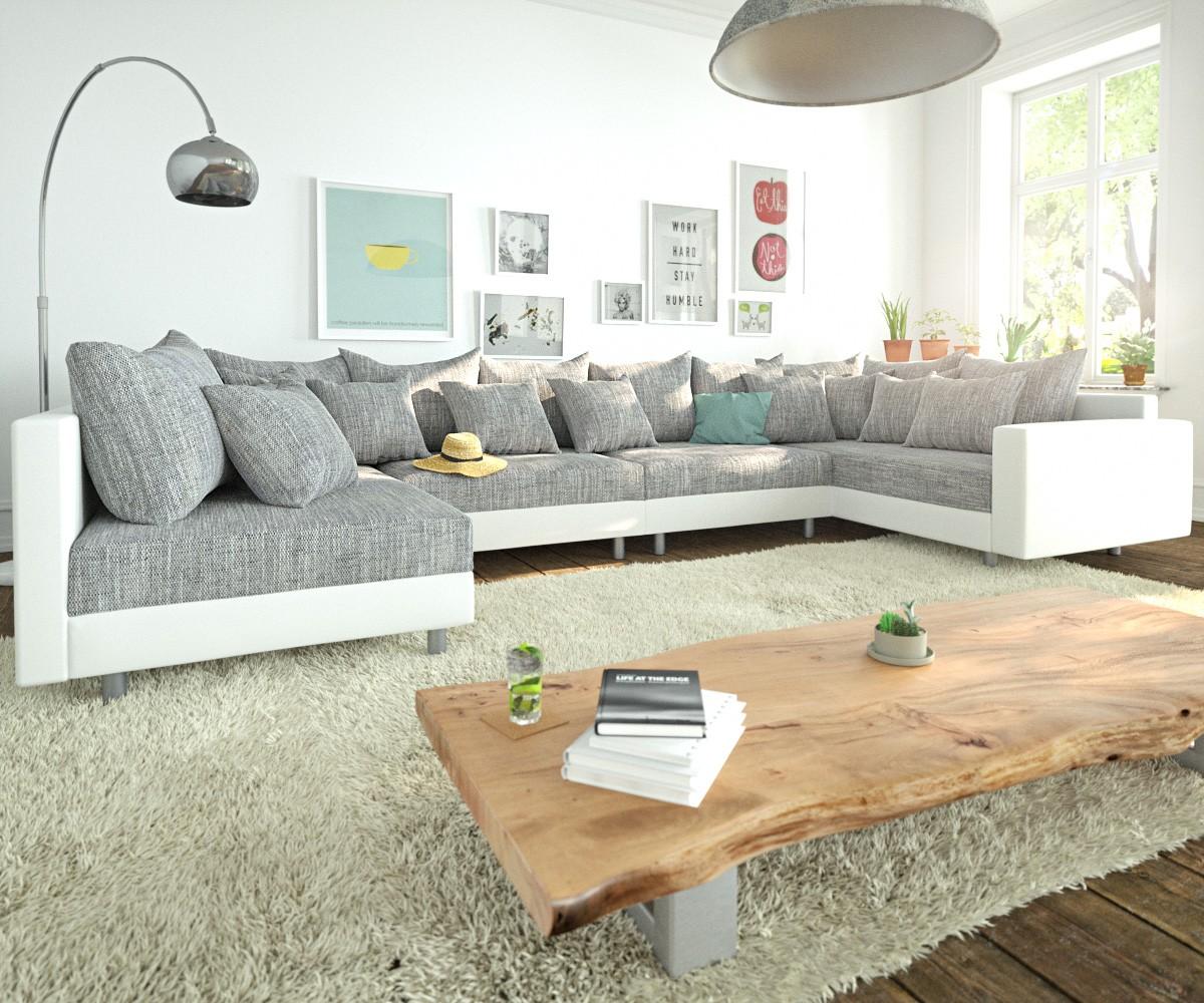 Wohnlandschaft Clovis XL Weiss Hellgrau Modulsofa Armlehne, Design Wohnlandschaften, Couch Loft, Modulsofa, modular