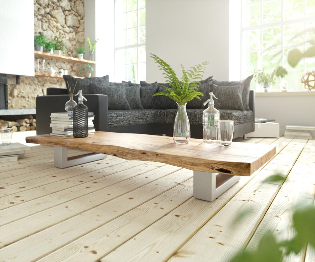 couchtisch live edge 165x60 akazie natur kufengestell. Black Bedroom Furniture Sets. Home Design Ideas