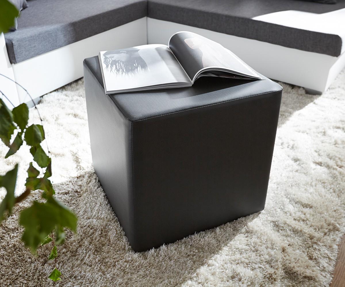 Sitzhocker Dado 45x45 cm Schwarz, Sitzhocker / Sitzwürfel