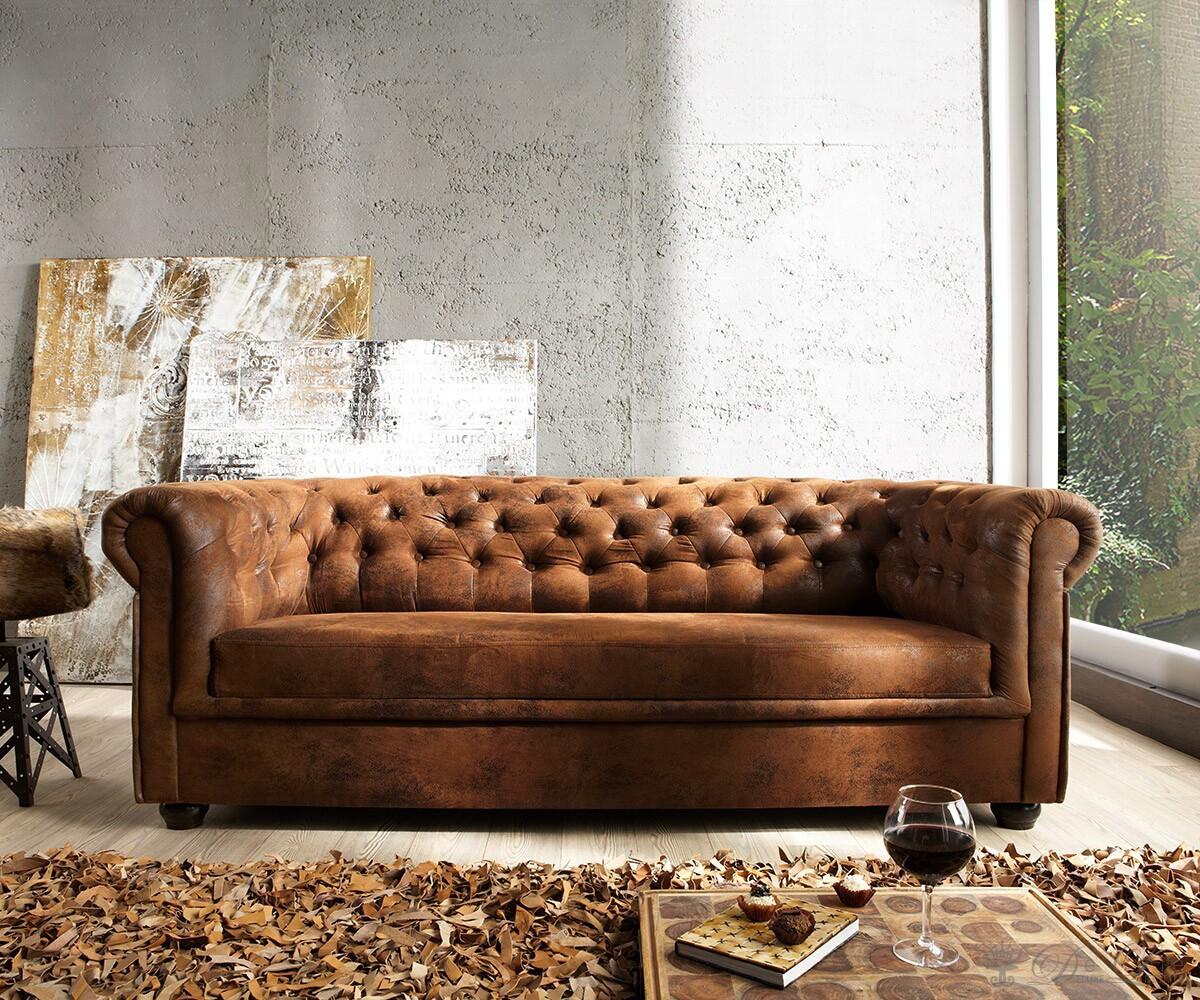 Wohnzimmer Einrichten Ohne Sofa Couch Chesterfield Braun 200x90 Cm Antik Optik Abgesteppt 3 Sitzer