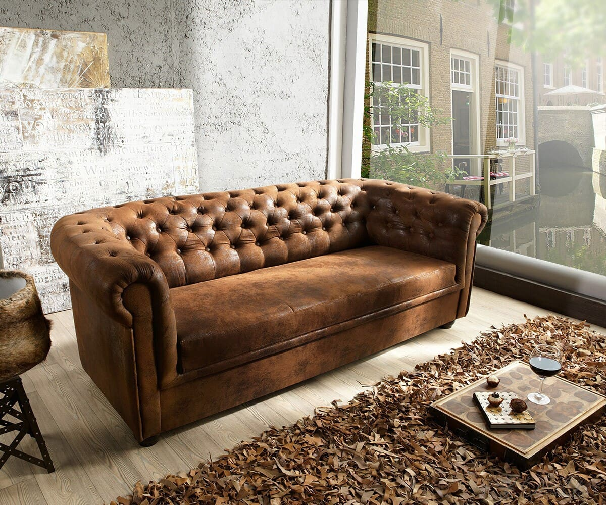 Sofa Chesterfield 200x90 Braun Antik Optik 3 Sitzer Couch