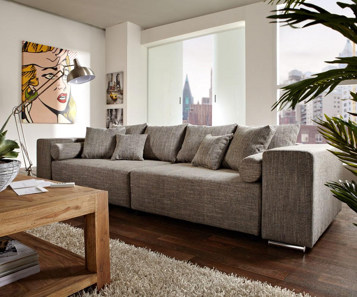 big sofa marbeya 290x110 cm hellgrau mit schlaffunktion m bel sofas big sofas. Black Bedroom Furniture Sets. Home Design Ideas