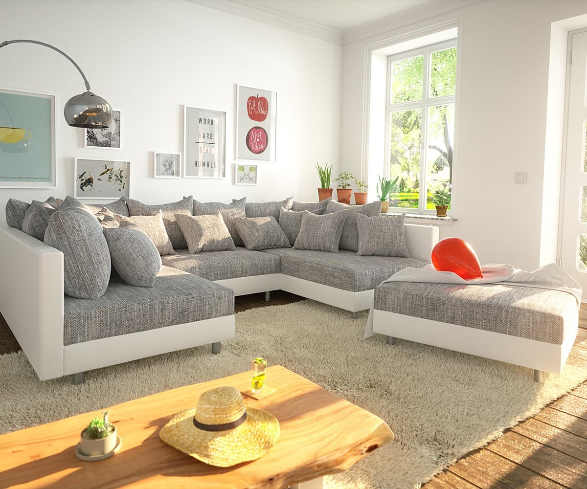 wohnlandschaft clovis weiss hellgrau modulsofa hocker. Black Bedroom Furniture Sets. Home Design Ideas