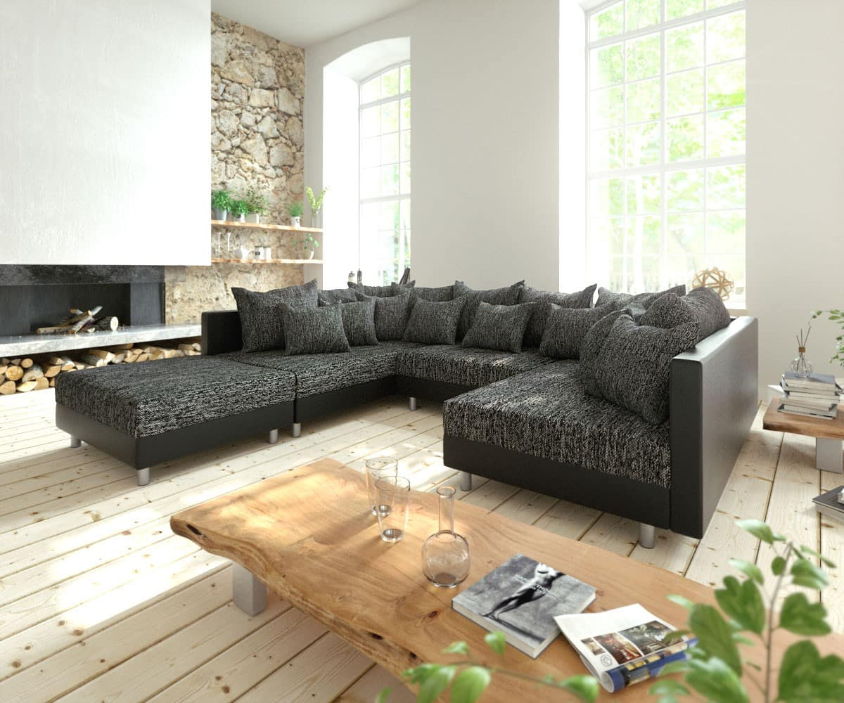 wohnlandschaft clovis schwarz modulsofa mit hocker m bel sofas wohnlandschaften. Black Bedroom Furniture Sets. Home Design Ideas