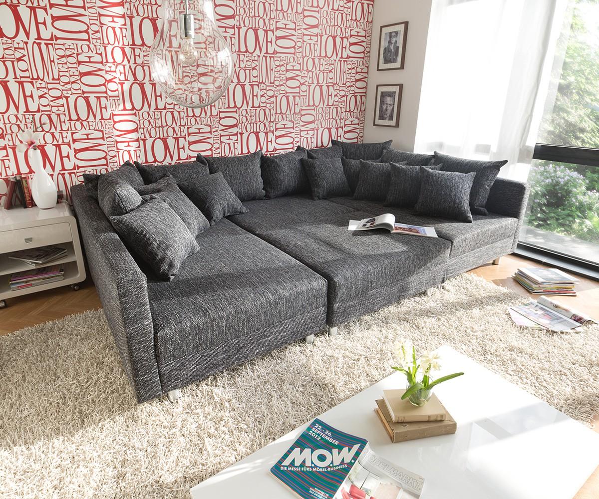wohnlandschaft clovis schwarz mit hocker modulsofa m bel. Black Bedroom Furniture Sets. Home Design Ideas