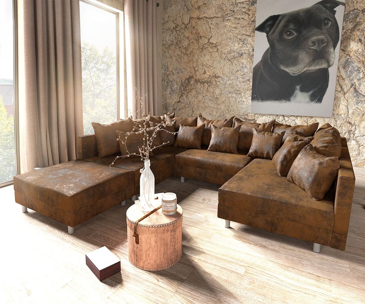 wohnlandschaft clovis braun antik optik modular hocker. Black Bedroom Furniture Sets. Home Design Ideas