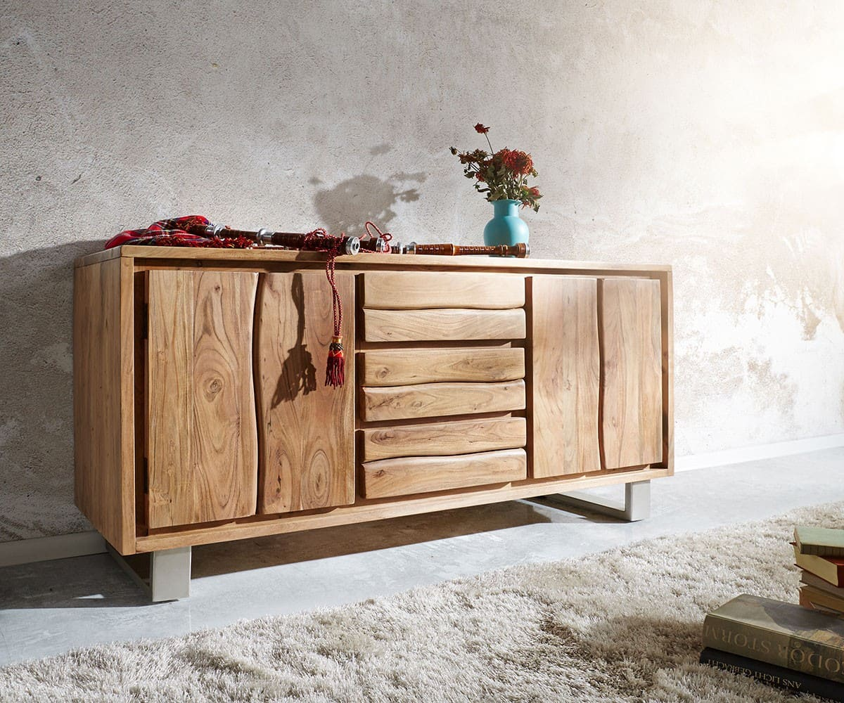 sideboard live edge 147x82 akazie natur 3 sch be 2 t ren. Black Bedroom Furniture Sets. Home Design Ideas