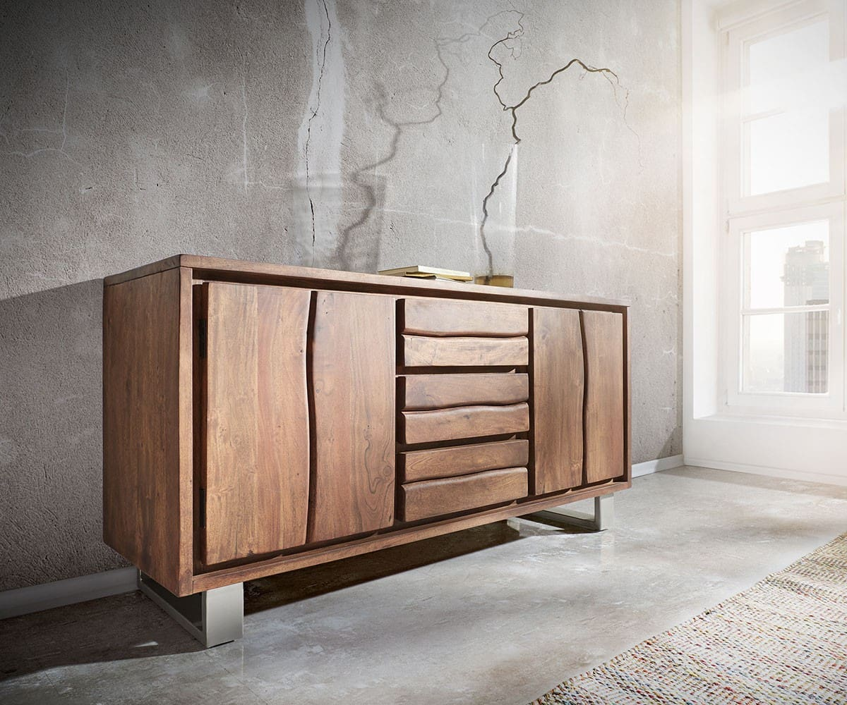 sideboard live edge 147x82 akazie braun 3 sch be 2 t ren m bel kommoden schr nke sideboards. Black Bedroom Furniture Sets. Home Design Ideas