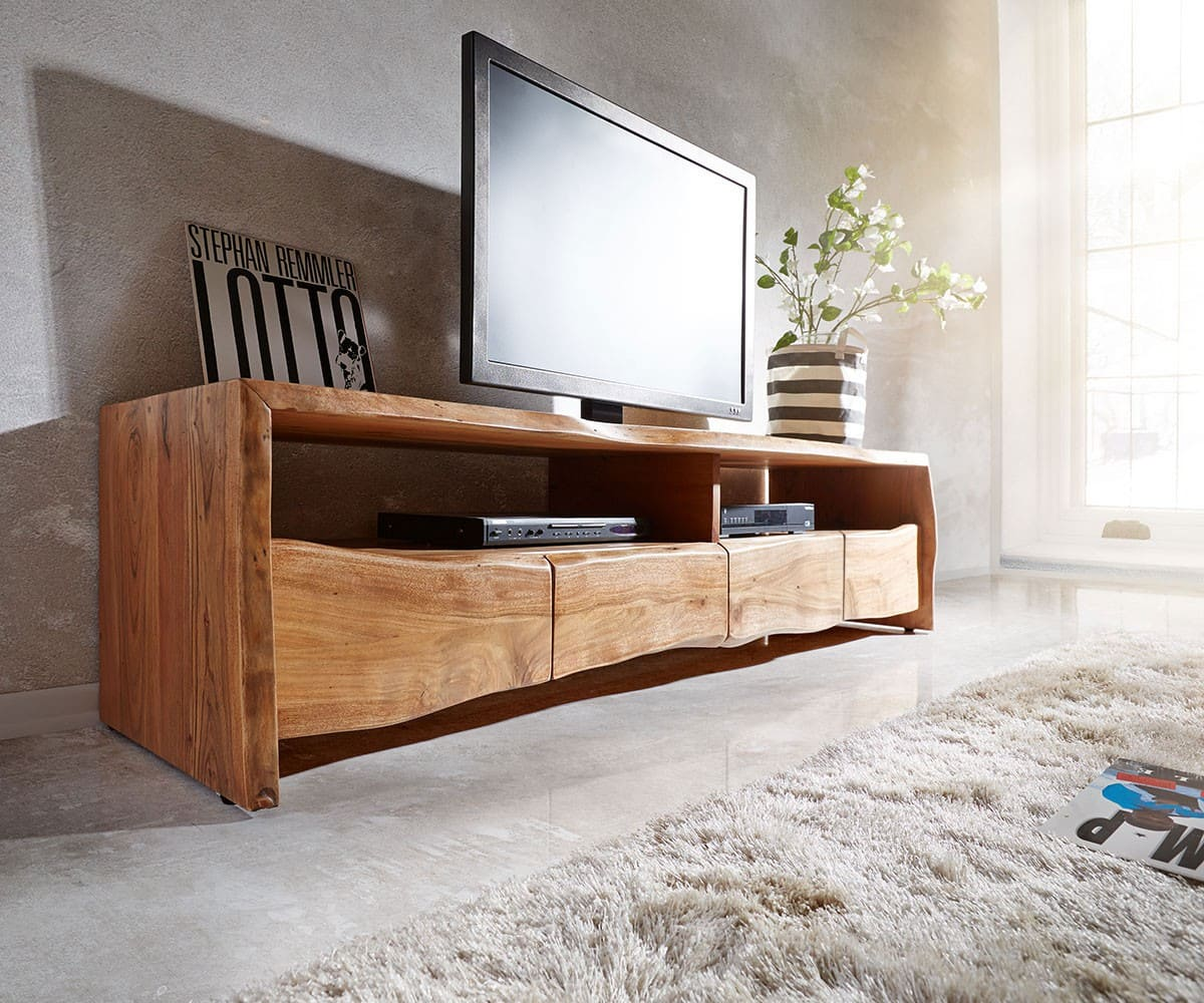 lowboard live edge 190 cm akazie natur 4 sch be 2 f cher. Black Bedroom Furniture Sets. Home Design Ideas