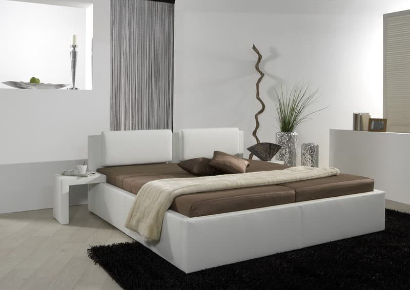 bett 180x200 valentin weiss inkl nachtkonsolen 180cm polsterbett doppelbett neu ebay. Black Bedroom Furniture Sets. Home Design Ideas