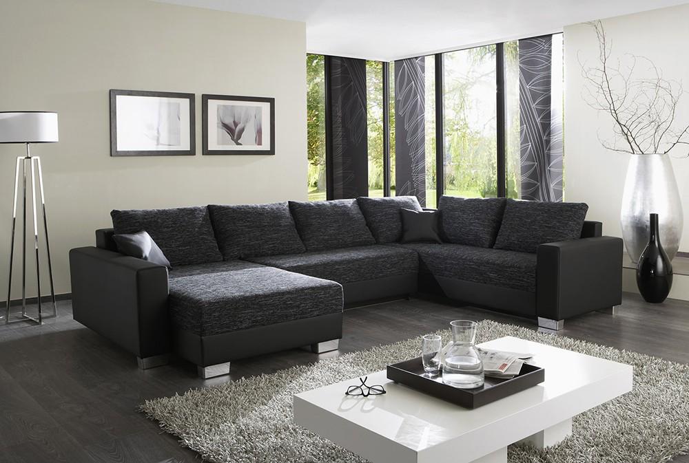 wohnzimmer couch schwarz. Black Bedroom Furniture Sets. Home Design Ideas