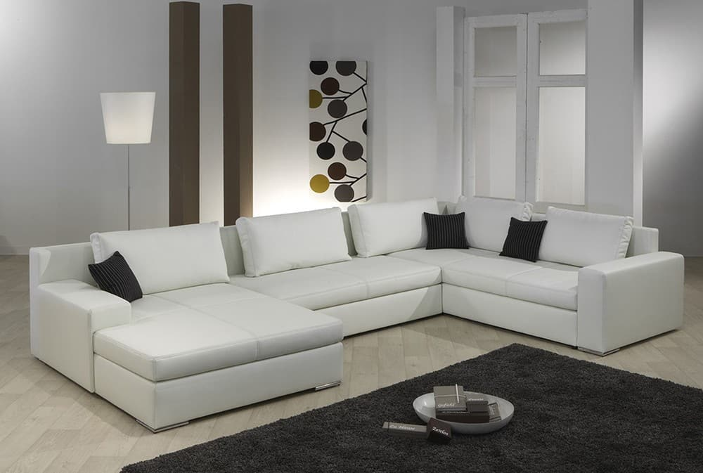 paris designer sofa wohnlandschaft weiss napalonleder ebay. Black Bedroom Furniture Sets. Home Design Ideas