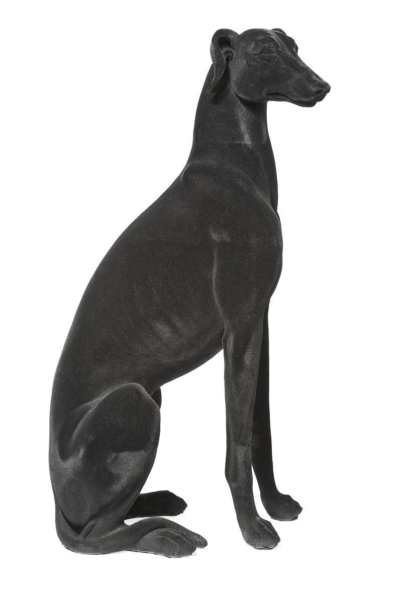 Deko figur windhund schwarz hund samt by kare design ebay - Deko tablett schwarz ...