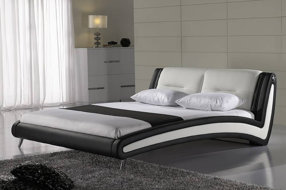 swing bett 140x200 napalon leder schwarz weiss polster ebay. Black Bedroom Furniture Sets. Home Design Ideas