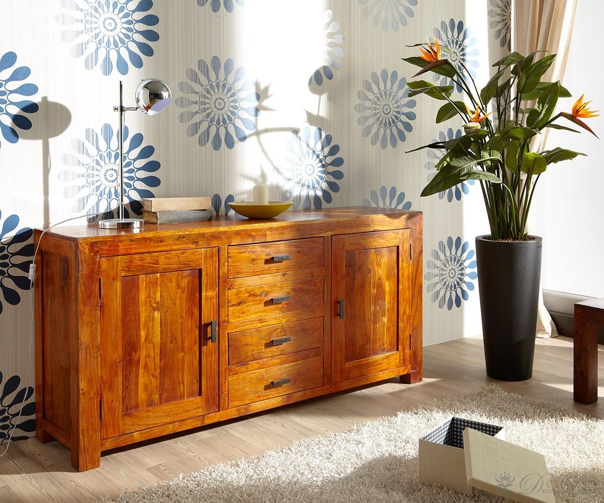 guru kommode 175x85 cm akazie honig sideboard holzkommode. Black Bedroom Furniture Sets. Home Design Ideas