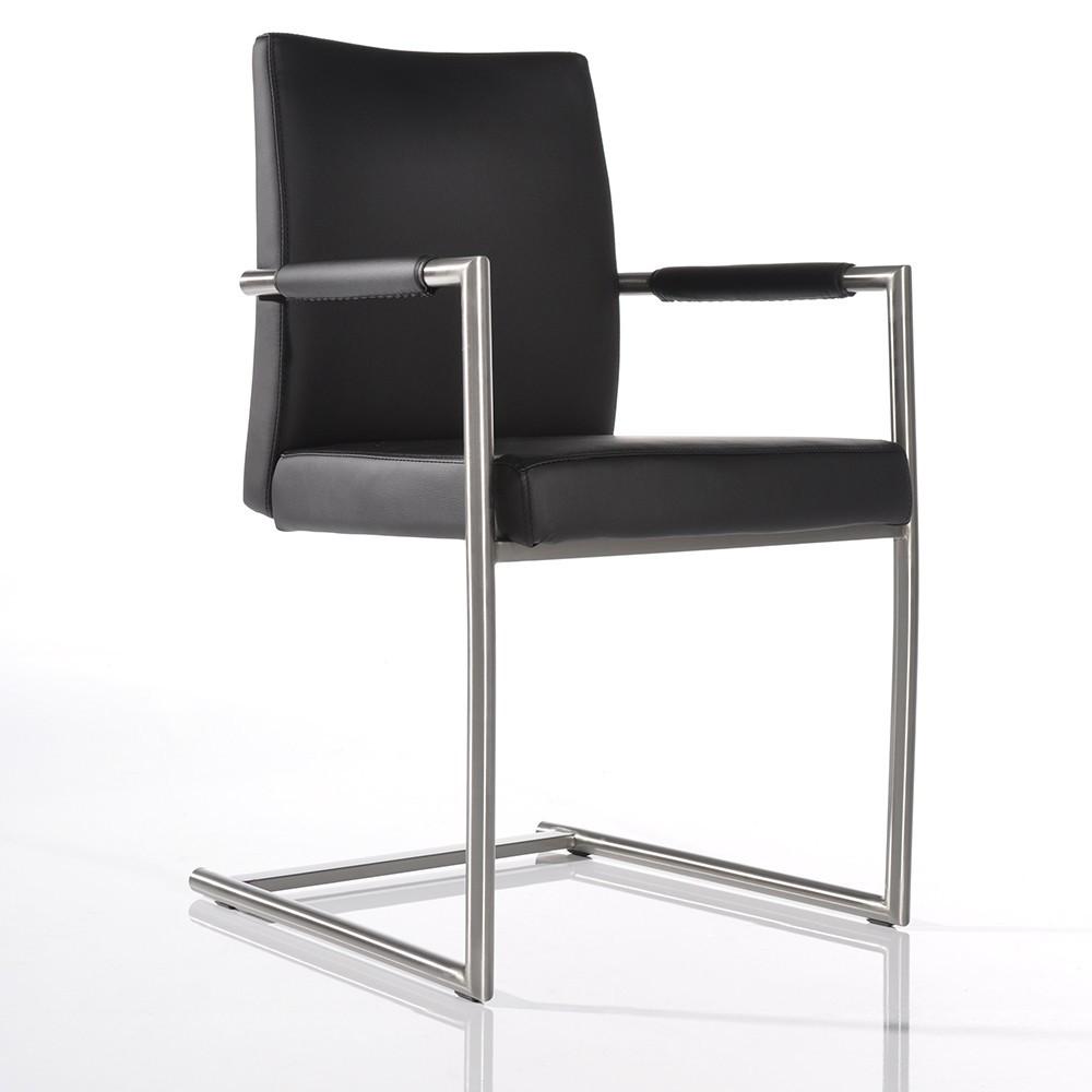freischwinger milan schwarz gestell edelstahl esszimmerstuhl k chenstuhl ebay. Black Bedroom Furniture Sets. Home Design Ideas