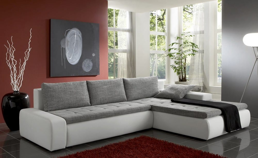 sofa montreal 300x195 cm weiss grau ottomane mit schlaffunktion couch ecksofa ebay. Black Bedroom Furniture Sets. Home Design Ideas