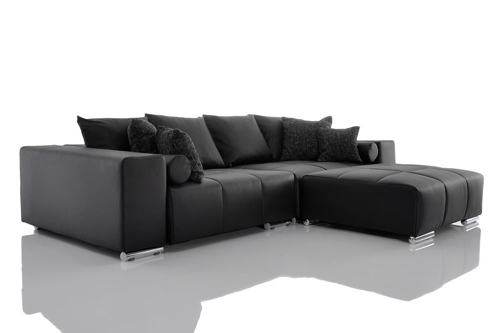 big sofa marbeya schwarz 290x120 cm couch mit hocker und 10 kissen xxl couch neu ebay. Black Bedroom Furniture Sets. Home Design Ideas