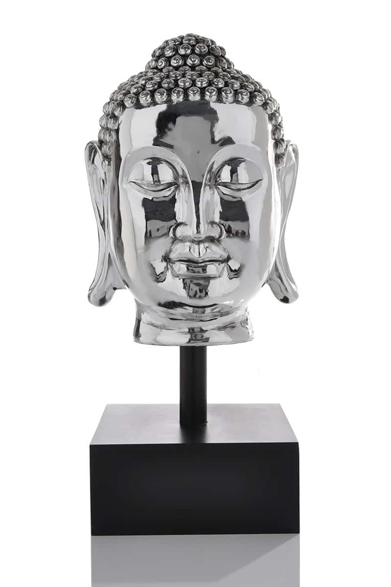deko buddha kopf silver 130cm xxl silber accessoire ebay. Black Bedroom Furniture Sets. Home Design Ideas