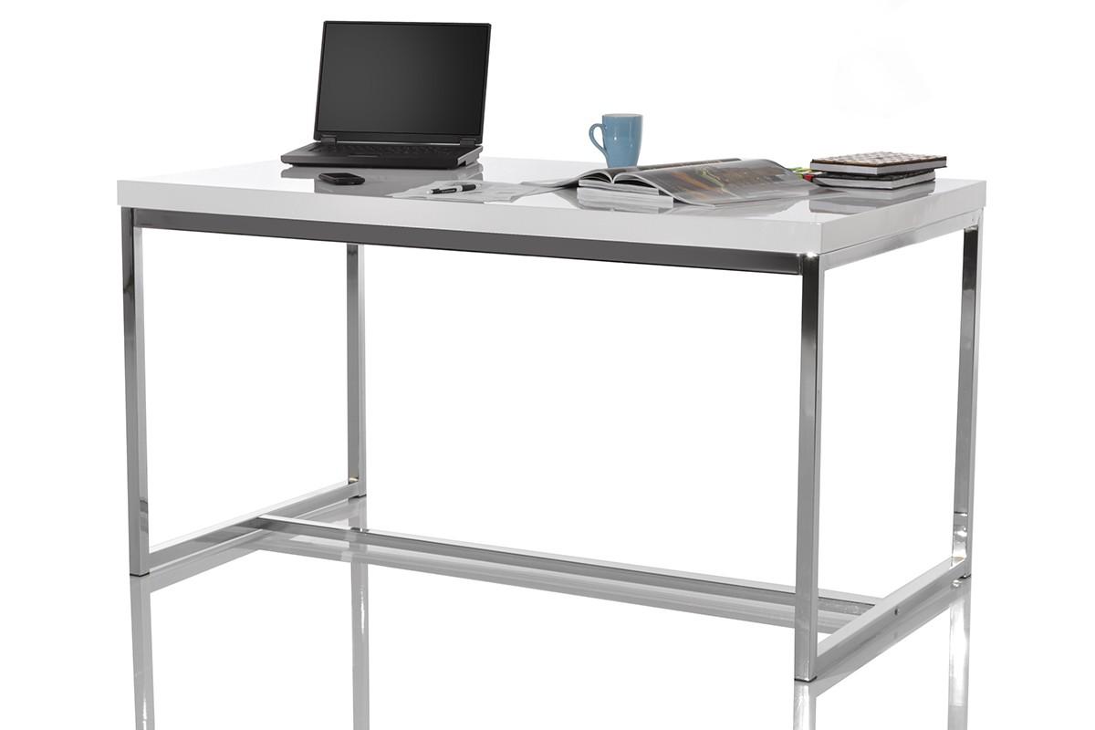 schreibtisch dalino hochglanz weiss chrom 140x80 tisch ebay. Black Bedroom Furniture Sets. Home Design Ideas
