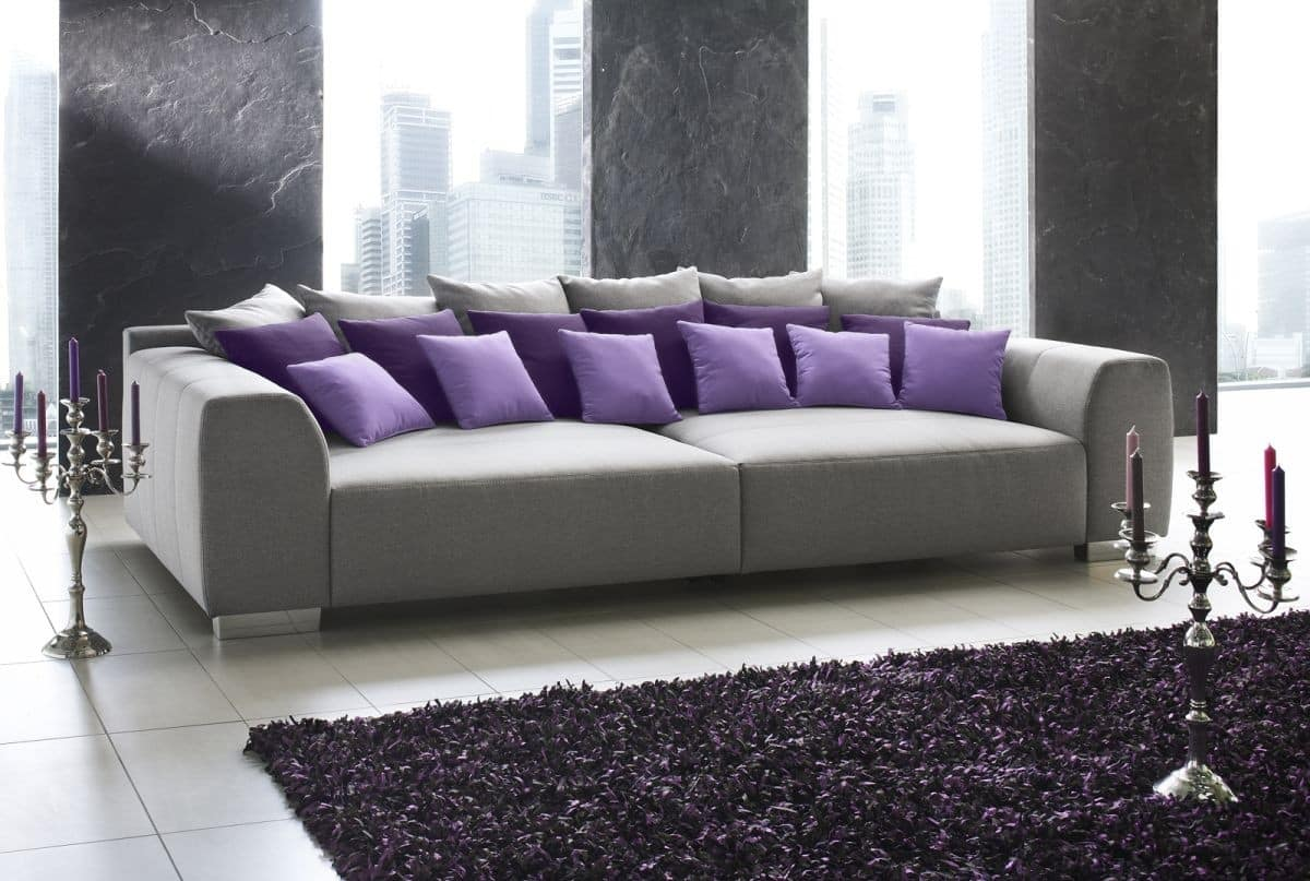 imposantes designer big sofa deluxe xxl grau struktur ebay. Black Bedroom Furniture Sets. Home Design Ideas