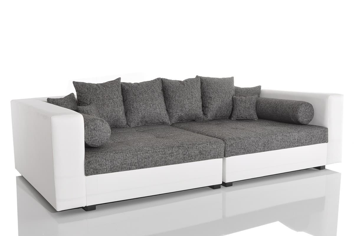 big sofa stella 300x140 weiss grau struktur 10 kissen. Black Bedroom Furniture Sets. Home Design Ideas