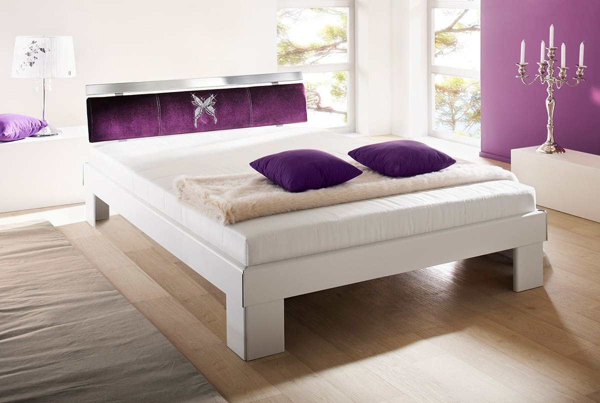 papillon futon bett 140x200 weiss stofflehne butterfly ebay. Black Bedroom Furniture Sets. Home Design Ideas