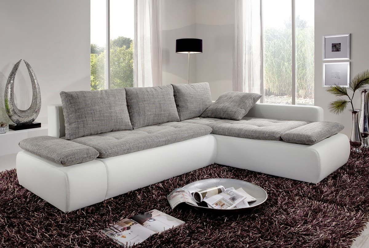 sofa bueno weiss 260x185 cm grau couch mit schlaffunktion ebay. Black Bedroom Furniture Sets. Home Design Ideas